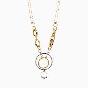 گردنبند طلا 18 عیار زنانه زنجیری مدل حلقه و گوی کد NL0290