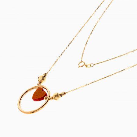 گردنبند طلا 18 عیار زنانه فانتزی با سنگ اتمی مدل قاب قلب کد NL0295