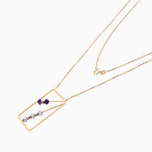 گردنبند طلا 18 عیار زنانه زنجیری مدل قاب طرح دار کد NL0296