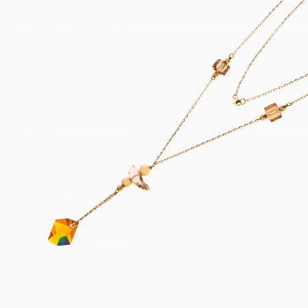 گردنبند طلا 18 عیار زنانه زنجیری با سنگ سواروسکی مدل آویز زرد کد NL0297