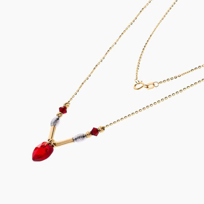 گردنبند طلا 18 عیار زنانه فانتزی با سنگ اتمی مدل قلب کد NL0298