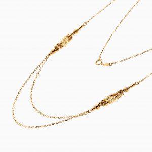 گردنبند طلا 18 عیار زنانه زنجیری مدل سینه ریز دو رج با گوی کد NL0299