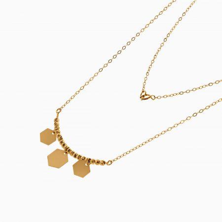 گردنبند طلا 18 عیار زنانه زنجیری مدل گوی و پولک شش ضلعی کد NL0300