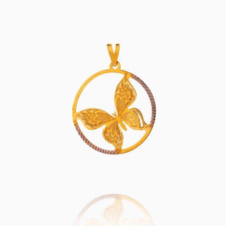 مدال طلا 18 عیار زنانه فانتزی مدل پروانه کد PD0069