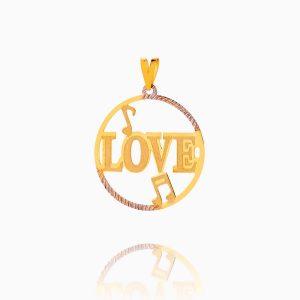 مدال طلا 18 عیار زنانه فانتزی مدل LOVE کد PD0072