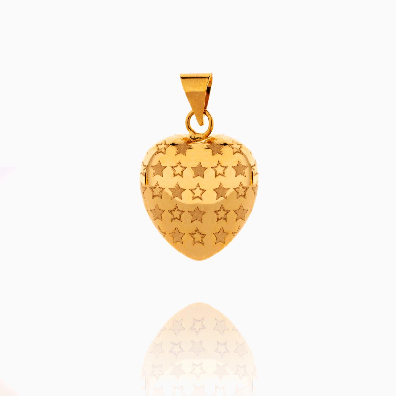 مدال طلا 18 عیار زنانه ون یکاد طرح قلب و ستاره ولنتاین کد PD0080