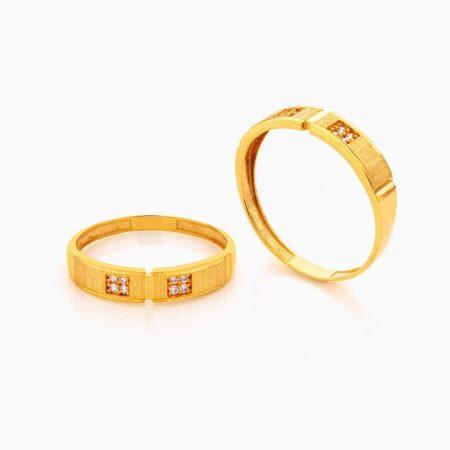 حلقه ست طلا 18 عیار با نگین اتمی مدل رینگ نگین دار کد RG0408