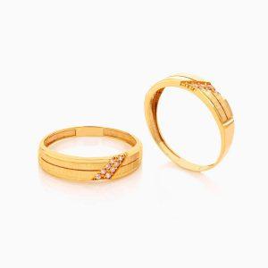 حلقه ست طلا 18 عیار با نگین اتمی مدل رینگ طرح دار کد RG0409