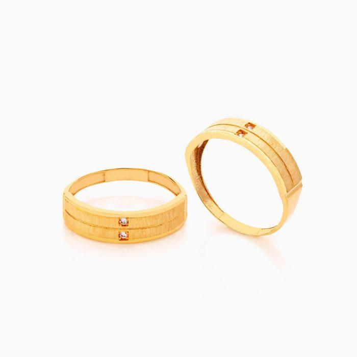 حلقه ست طلا 18 عیار با نگین اتمی مدل رینگ نگین دار کد RG0411