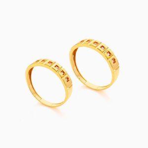 حلقه ست طلا 18 عیار با نگین اتمی مدل رینگ طرح دار کد RG0413