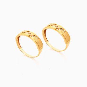 حلقه ست طلا 18 عیار با نگین اتمی مدل رینگ طرح دار کد RG0414
