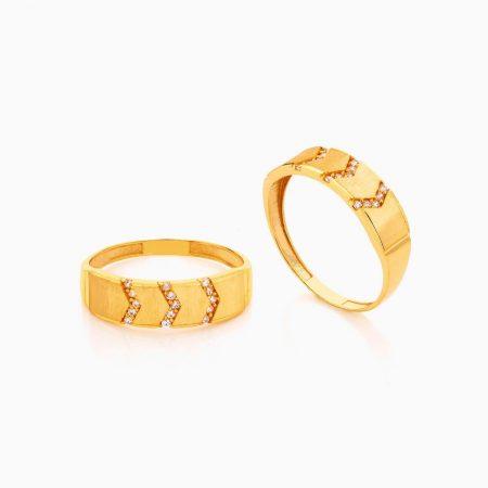 حلقه ست طلا 18 عیار با نگین اتمی مدل سه رج نگین کد RG0415