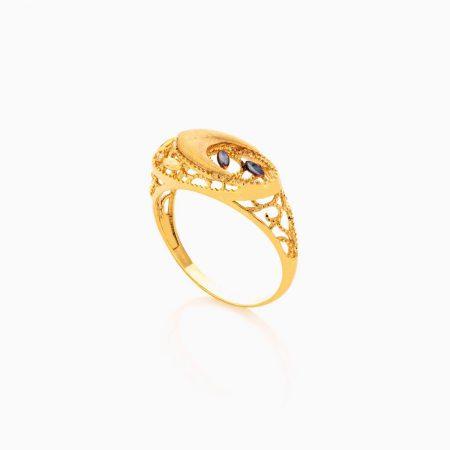 انگشتر طلا 18 عیار زنانه با نگین اتمی مدل اسلیمی هندسی کد RG0426