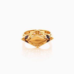 انگشتر طلا 18 عیار زنانه با نگین اتمی مدل اسلیمی طرح لوزی کد RG0428