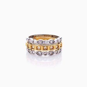 انگشتر طلا 18 عیار زنانه با نگین اتمی مدل رینگ طرح دار کد RG0432
