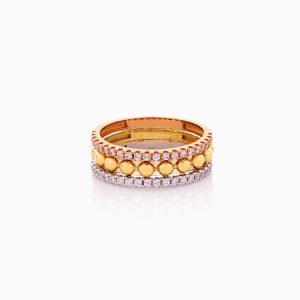 انگشتر طلا 18 عیار زنانه با نگین اتمی مدل رینگ دورنگ اشک کد RG0435