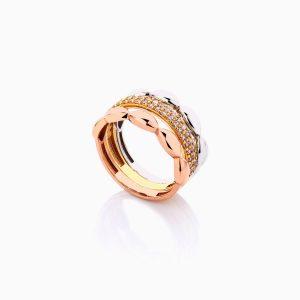 انگشتر طلا 18 عیار زنانه با نگین اتمی مدل پرنسس کد RG0436