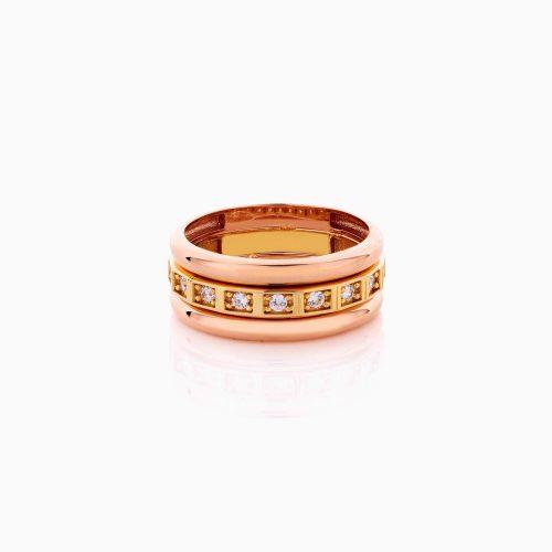 انگشتر طلا 18 عیار زنانه با نگین اتمی مدل رینگ سه رنگ اشک کد RG0437