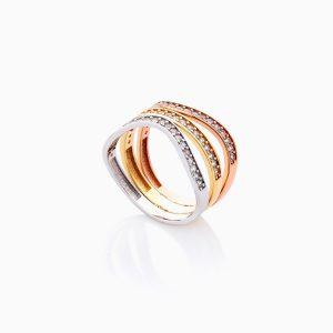 انگشتر طلا 18 عیار زنانه با نگین اتمی مدل رینگ دو رنگ طرح دار کد RG0439
