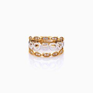 انگشتر طلا 18 عیار زنانه با نگین اتمی مدل رینگ دو رنگ طرح دار کد RG0441