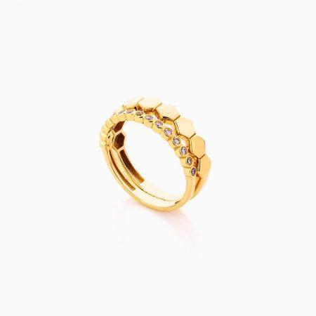 انگشتر طلا 18 عیار زنانه فانتزی با نگین اتمی مدل قلب کد RG0443