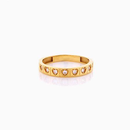 انگشتر طلا 18 عیار زنانه با نگین اتمی مدل سه رنگ طرح دار کد RG0444