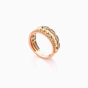انگشتر طلا 18 عیار زنانه با نگین اتمی مدل سه رنگ طرح دار کد RG0445