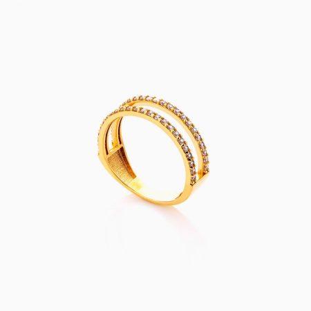 انگشتر طلا 18 عیار زنانه با نگین اتمی مدل رینگ طرح دار کد RG0448