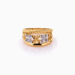 انگشتر طلا 18 عیار زنانه مدل گل زنبق کد RG0458