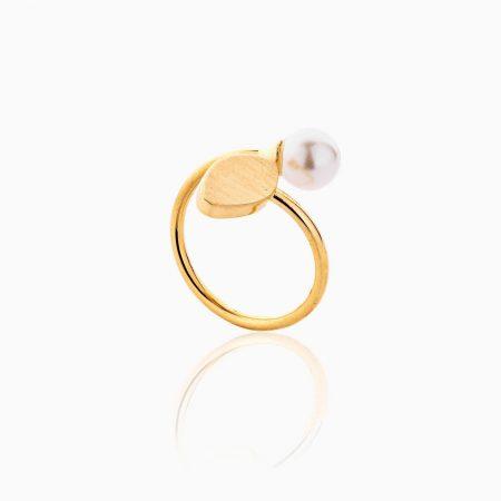 انگشتر طلا 18 عیار زنانه اسپورت با سنگ مروارید مدل مکعب و مروارید کد RG0471