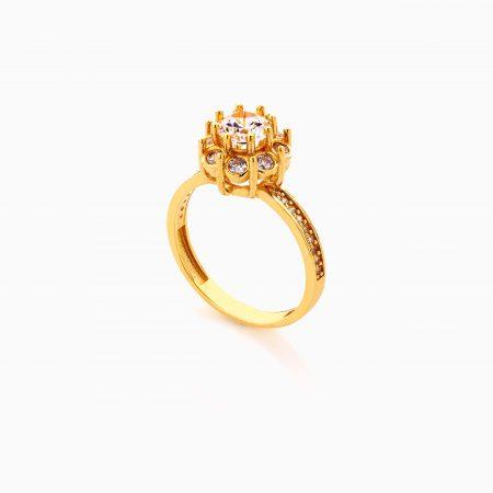 انگشتر طلا 18 عیار زنانه سولیتر با نگین اتمی مدل پایه چنگکی کد RG0480