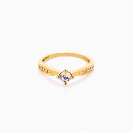 انگشتر طلا 18 عیار زنانه سولیتر با نگین اتمی مدل پایه چنگکی کد RG0481