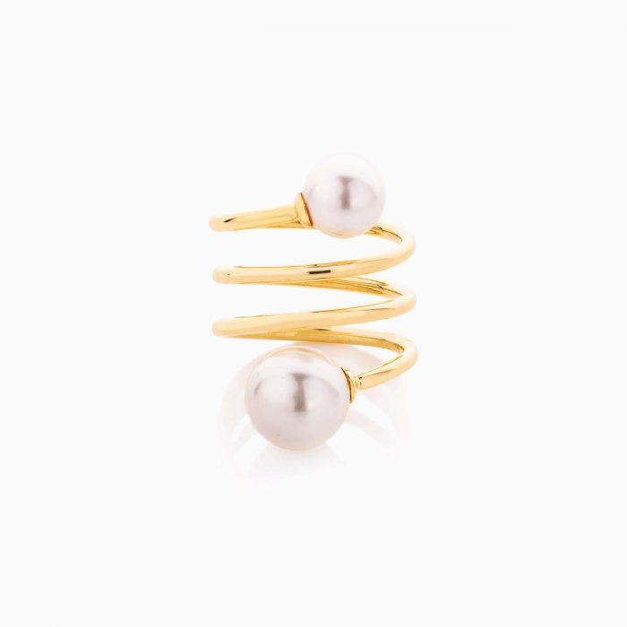 انگشتر طلا 18 عیار زنانه اسپورت با سنگ مروارید مدل ماری کد RG0482