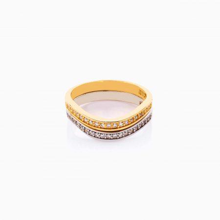 انگشتر طلا 18 عیار زنانه اسپورت با نگین اتمی مدل دورینگ طرح دار کد RG0483