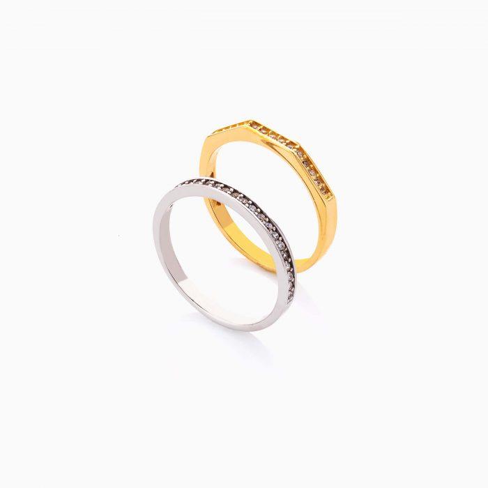 انگشتر طلا 18 عیار زنانه اسپورت با نگین اتمی مدل دورینگ ساده کد RG0484