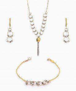 سرویس طلا 18 عیار زنانه زنجیری مدل حلقه و گوی با آویز کد ST0117