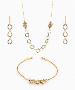 سرویس طلا 18 عیار زنانه زنجیری مدل گوی و حلقه کد ST0118