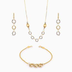 سرویس طلا 18 عیار زنانه زنجیری مدل گوی و حلقه کد ST0119