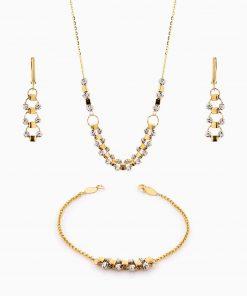 سرویس طلا 18 عیار زنانه زنجیری مدل گوی و مکعب با آویز کد ST0120