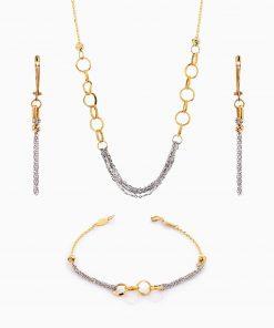 سرویس طلا 18 عیار زنانه اسپورت مدل زنجیر و حلقه کد ST0121