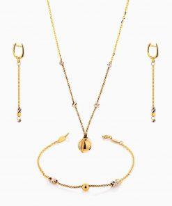 سرویس طلا 18 عیار زنانه اسپورت مدل زنجیر و گوی با آویز کد ST0123