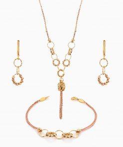 سرویس طلا 18 عیار زنانه زنجیری مدل حلقه و گوی با آویز استوانه ای کد ST0124