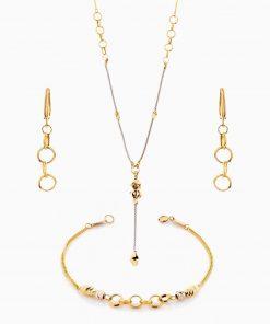 سرویس طلا 18 عیار زنانه زنجیری مدل حلقه ای با آویز پیچی کد ST0125