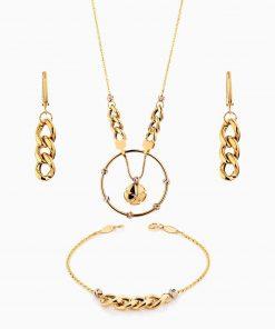 سرویس طلا 18 عیار زنانه زنجیری مدل کارتیر با آویز کد ST0126
