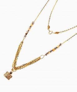 سرویس طلا 18 عیار زنانه اسپورت مدل زنجیر و گوی با آویز مکعب کد ST0127