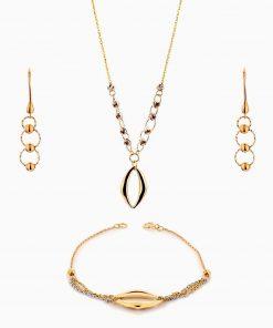سرویس طلا 18 عیار زنانه زنجیری مدل حلقه و گوی با آویز کد ST0129