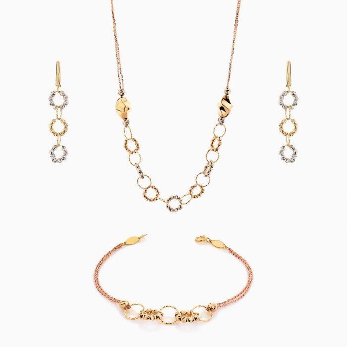سرویس طلا 18 عیار زنانه زنجیری مدل حلقه و گوی کد ST0131