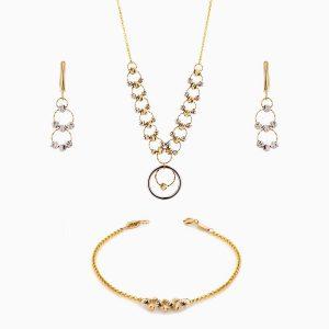 سرویس طلا 18 عیار زنانه زنجیری مدل حلقه و گوی کد ST0132