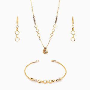 سرویس طلا 18 عیار زنانه زنجیری مدل حلقه ای با آویز طرح دار کد ST0134