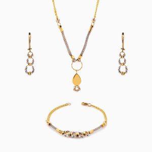 سرویس طلا 18 عیار زنانه زنجیری مدل آلبرنادو با آویز اشک کد ST0137